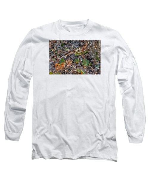 Camouflaged Plumage With Fallen Leaves Long Sleeve T-Shirt by Asbed Iskedjian