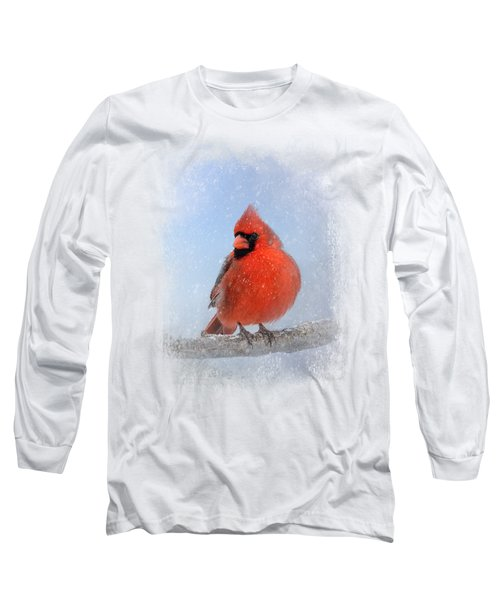 Cardinal In The Snow Long Sleeve T-Shirt by Jai Johnson