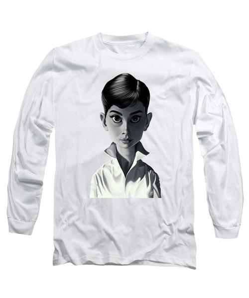 Celebrity Sunday - Audrey Hepburn Long Sleeve T-Shirt by Rob Snow