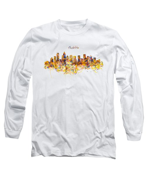 Charlotte Watercolor Skyline Long Sleeve T-Shirt by Marian Voicu