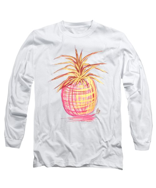 Chic Pink Metallic Gold Pineapple Fruit Wall Art Aroon Melane 2015 Collection By Madart Long Sleeve T-Shirt by Megan Duncanson