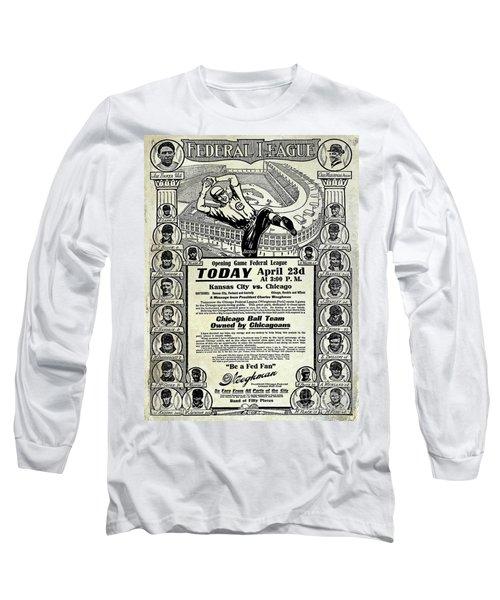 Chicago Cub Poster Long Sleeve T-Shirt by Jon Neidert