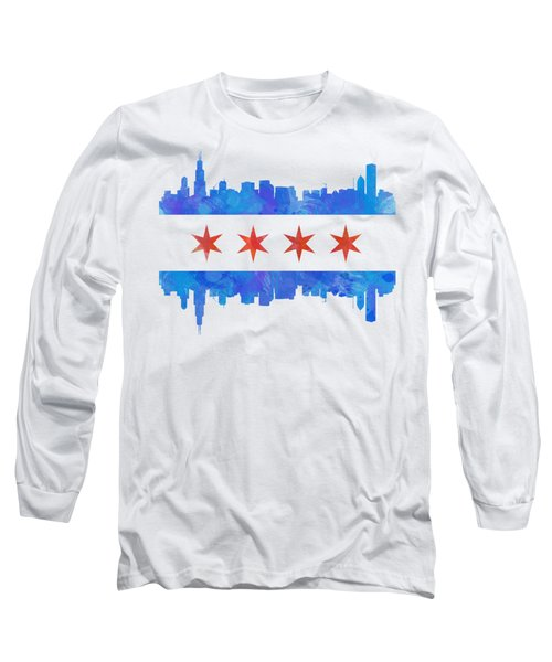 Chicago Flag Watercolor Long Sleeve T-Shirt by Mike Maher