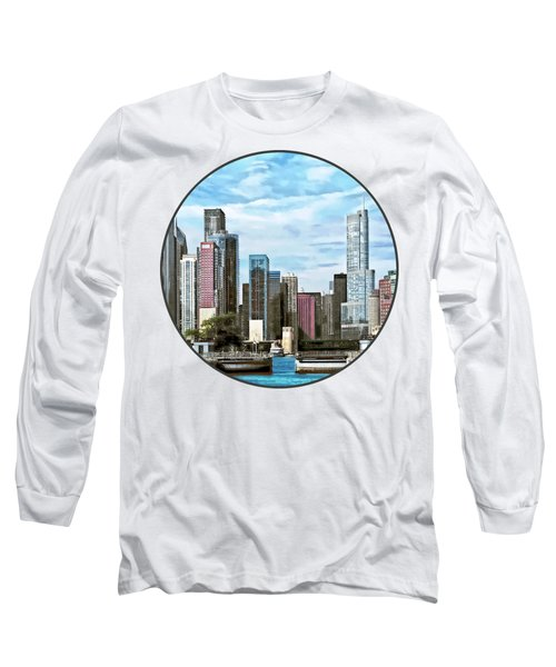 Chicago Il - Chicago Harbor Lock Long Sleeve T-Shirt by Susan Savad