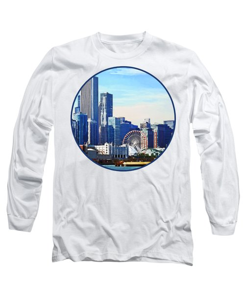 Chicago Il - Chicago Skyline And Navy Pier Long Sleeve T-Shirt by Susan Savad