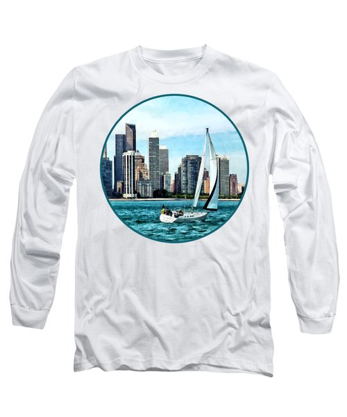 Chicago Il - Sailboat Against Chicago Skyline Long Sleeve T-Shirt by Susan Savad