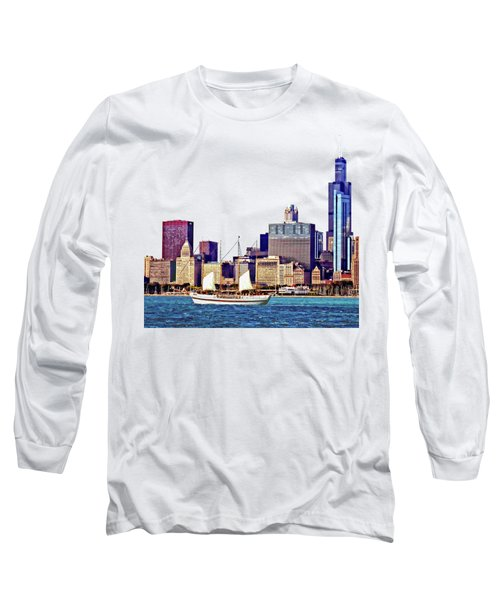 Chicago Il - Schooner Against Chicago Skyline Long Sleeve T-Shirt by Susan Savad
