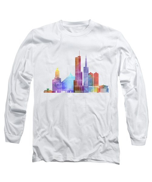 Chicago Landmarks Watercolor Poster Long Sleeve T-Shirt by Pablo Romero