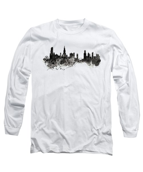 Chicago Skyline Black And White Long Sleeve T-Shirt by Marian Voicu