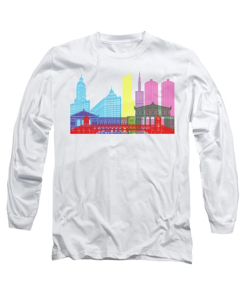Chicago Skyline Pop Long Sleeve T-Shirt by Pablo Romero