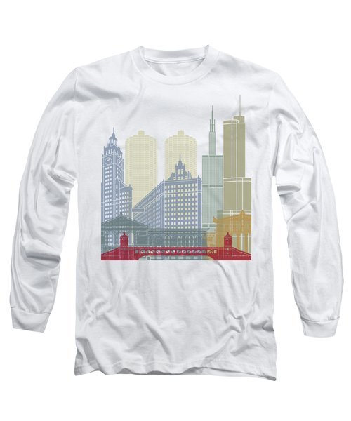 Chicago Skyline Poster Long Sleeve T-Shirt by Pablo Romero