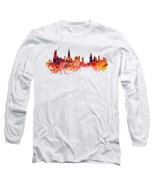 Chicago Watercolor Skyline Long Sleeve T-Shirt by Marian Voicu