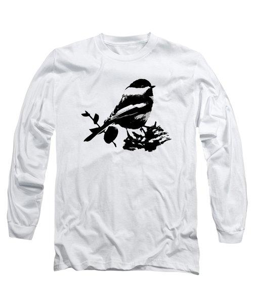 Chickadee Bird Pattern Long Sleeve T-Shirt by Christina Rollo
