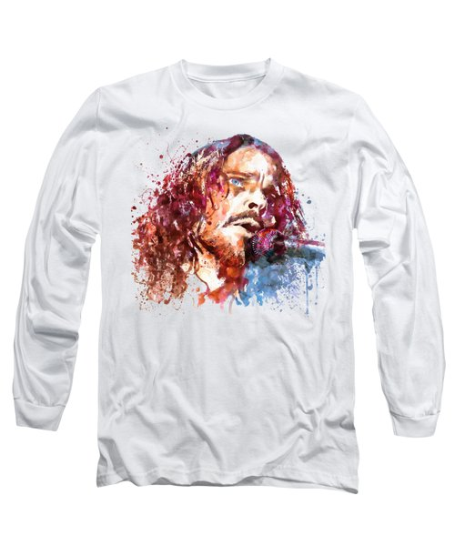 Chris Cornell Long Sleeve T-Shirt by Marian Voicu