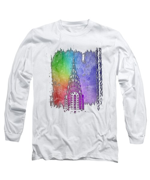 Chrysler Spire Cool Rainbow 3 Dimensional Long Sleeve T-Shirt by Di Designs