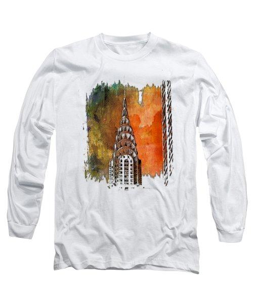 Chrysler Spire Earthy Rainbow 3 Dimensional Long Sleeve T-Shirt by Di Designs