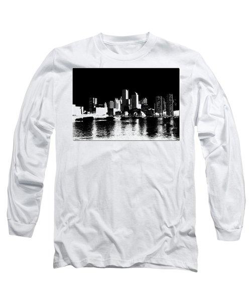 City Of Boston Skyline   Long Sleeve T-Shirt by Enki Art