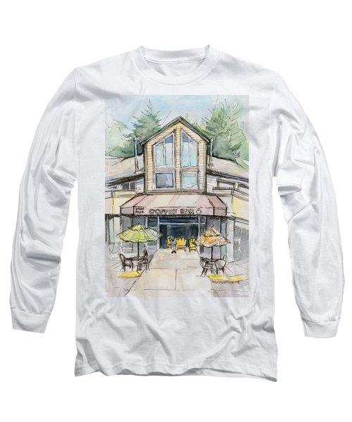 Coffee Shop Watercolor Sketch Long Sleeve T-Shirt by Olga Shvartsur