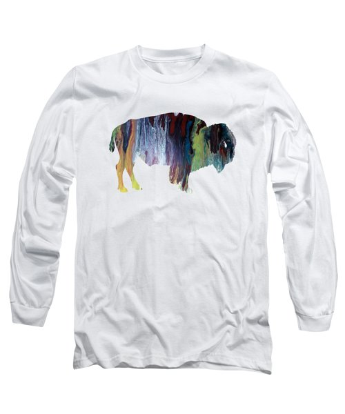 Colorful Bison Long Sleeve T-Shirt by Mordax Furittus
