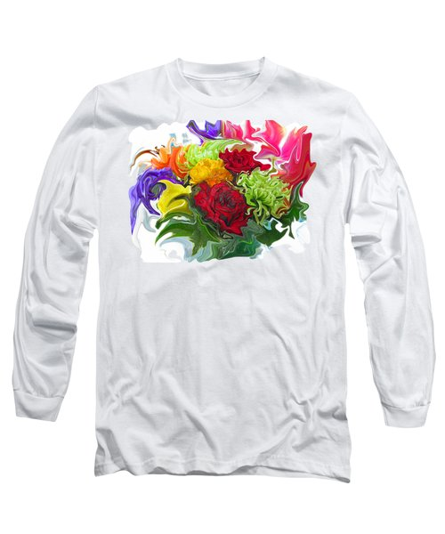 Colorful Bouquet Long Sleeve T-Shirt by Kathy Moll