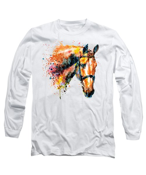 Colorful Horse Head Long Sleeve T-Shirt by Marian Voicu