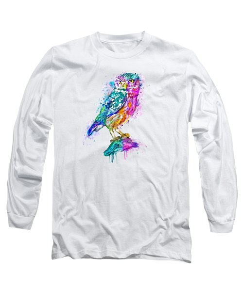 Colorful Owl Long Sleeve T-Shirt by Marian Voicu