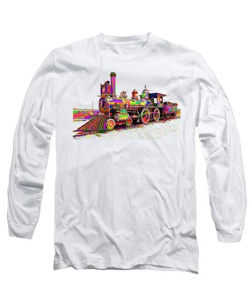 Colorful Steam Locomotive Long Sleeve T-Shirt by Samuel Majcen