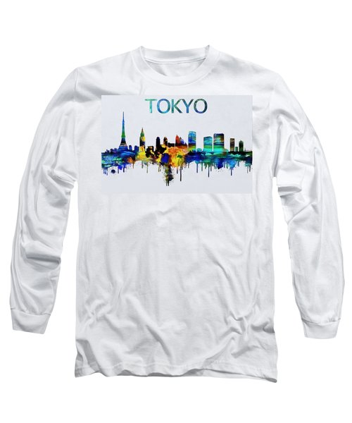 Colorful Tokyo Skyline Silhouette Long Sleeve T-Shirt by Dan Sproul