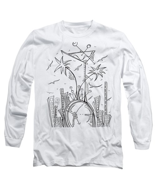 Coloring Page With Beautiful City Martini Drawing By Megan Duncanson Long Sleeve T-Shirt by Megan Duncanson