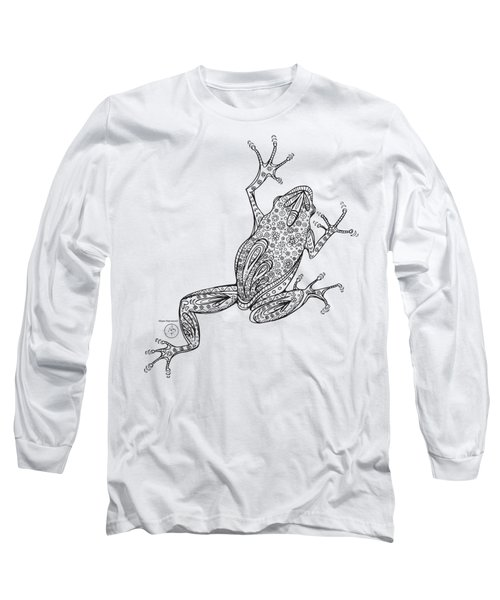 Coloring Page With Beautiful Frog Drawing By Megan Duncanson Long Sleeve T-Shirt by Megan Duncanson