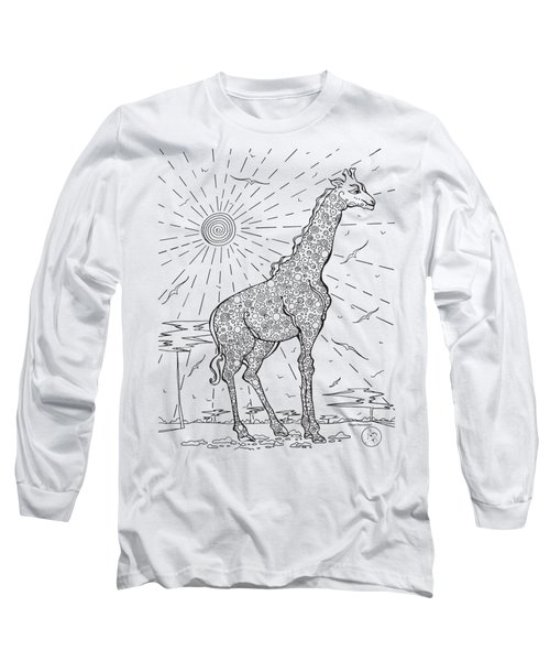 Coloring Page With Beautiful Giraffe Drawing By Megan Duncanson Long Sleeve T-Shirt by Megan Duncanson