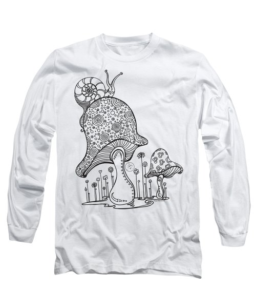 Coloring Page With Beautiful Mushroom And Snail Drawing By Megan Duncanson Long Sleeve T-Shirt by Megan Duncanson