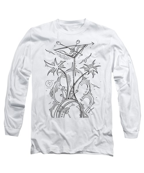 Coloring Page With Beautiful Tropical Martini Drawing By Megan Duncanson Long Sleeve T-Shirt by Megan Duncanson