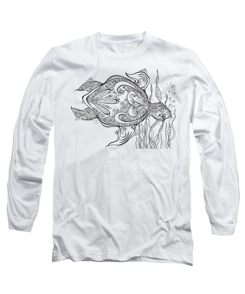 Coloring Page With Beautiful Turtle Drawing By Megan Duncanson Long Sleeve T-Shirt by Megan Duncanson