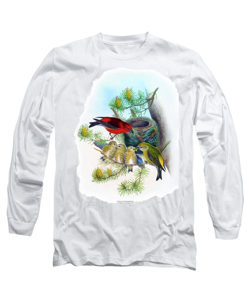 Common Crossbill Antique Bird Print John Gould Hc Richter Birds Of Great Britain  Long Sleeve T-Shirt by Orchard Arts