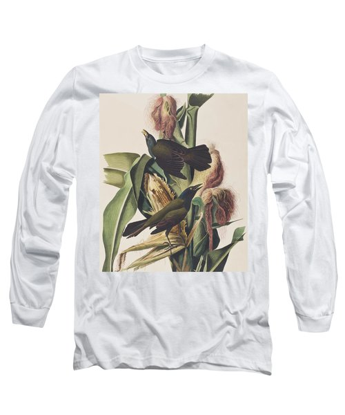 Common Crow Long Sleeve T-Shirt by John James Audubon