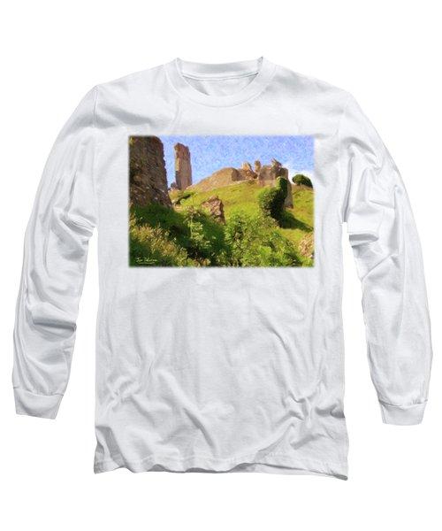 Corfe Castle Long Sleeve T-Shirt by Jon Delorme