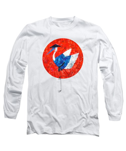 Crane Long Sleeve T-Shirt by Daryna Skulska