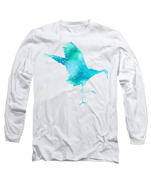 Crane Ready For Flight - Blue-green Watercolor Long Sleeve T-Shirt by Custom Home Fashions