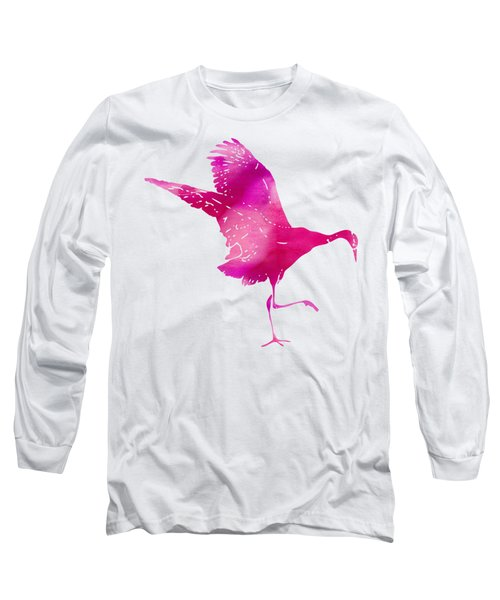 Crane Ready For Flight - Pink Watercolor Long Sleeve T-Shirt by Custom Home Fashions