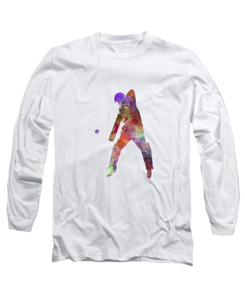 Cricket Player Batsman Silhouette 02 Long Sleeve T-Shirt by Pablo Romero