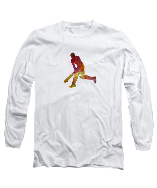Cricket Player Batsman Silhouette 03 Long Sleeve T-Shirt by Pablo Romero