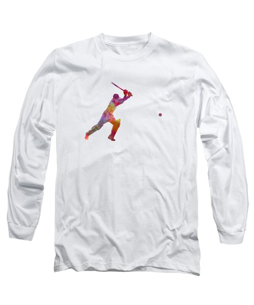 Cricket Player Batsman Silhouette 04 Long Sleeve T-Shirt by Pablo Romero