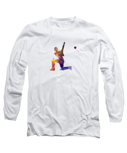 Cricket Player Batsman Silhouette 08 Long Sleeve T-Shirt by Pablo Romero