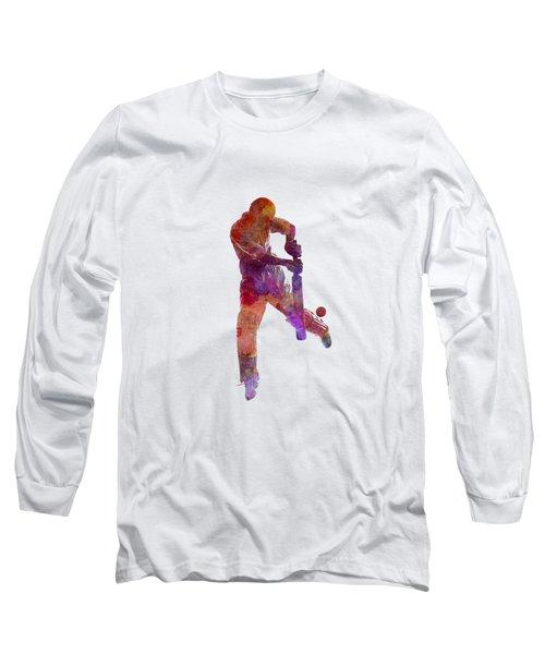 Cricket Player Batsman Silhoutte Long Sleeve T-Shirt by Pablo Romero