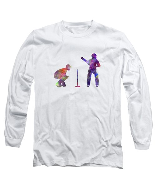 Cricket Player Silhouette Long Sleeve T-Shirt by Pablo Romero