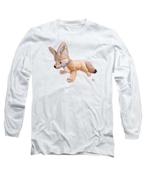 Cuddly Snow Fox Long Sleeve T-Shirt by Angeles M Pomata