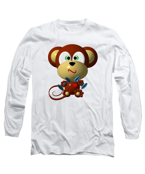 Cute Monkey Lifting Weights Long Sleeve T-Shirt by Rose Santuci-Sofranko