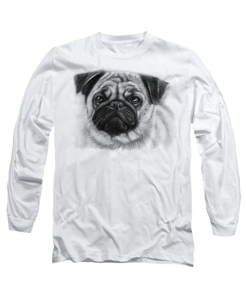 Cute Pug Long Sleeve T-Shirt by Olga Shvartsur