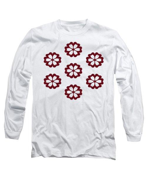 Cyber Flower Red Long Sleeve T-Shirt by Daniel Hagerman